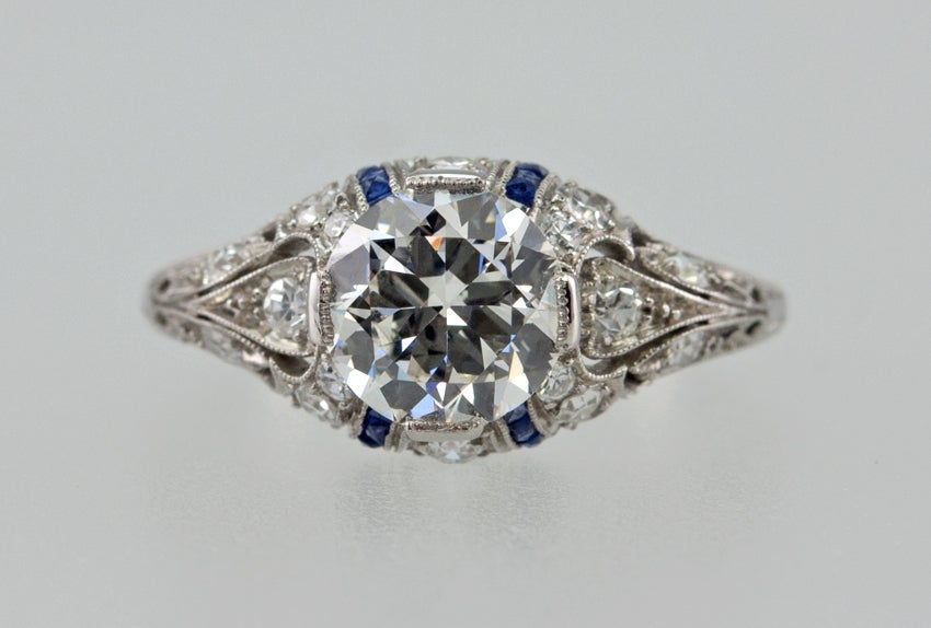 engagement ring with 1 24ct with sapphire accents