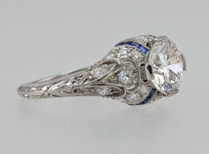 Engagement Ring with 1.24ct Diamond With Sapphire Accents In Excellent Condition For Sale In Los Angeles, CA