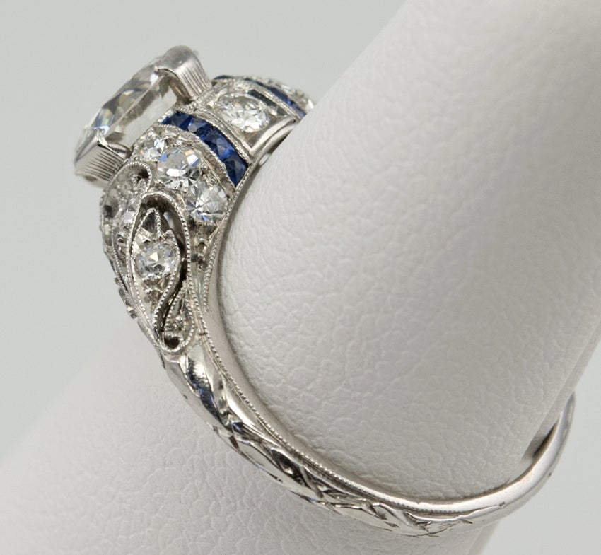 Women's Engagement Ring with 1.24ct Diamond With Sapphire Accents For Sale