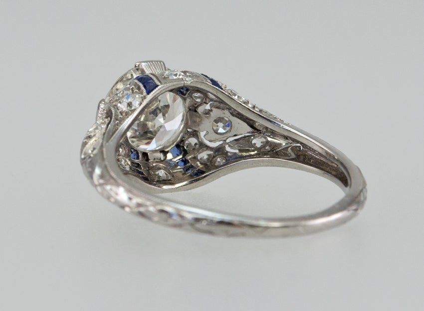 Engagement Ring with 1.24ct Diamond With Sapphire Accents For Sale 2