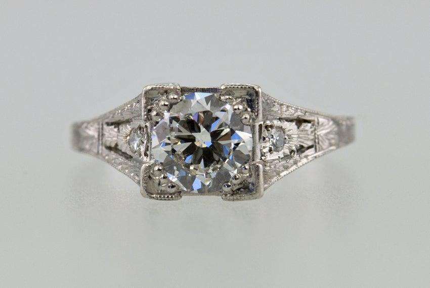 Art Deco Diamond .94ct Engagement Ring For Sale