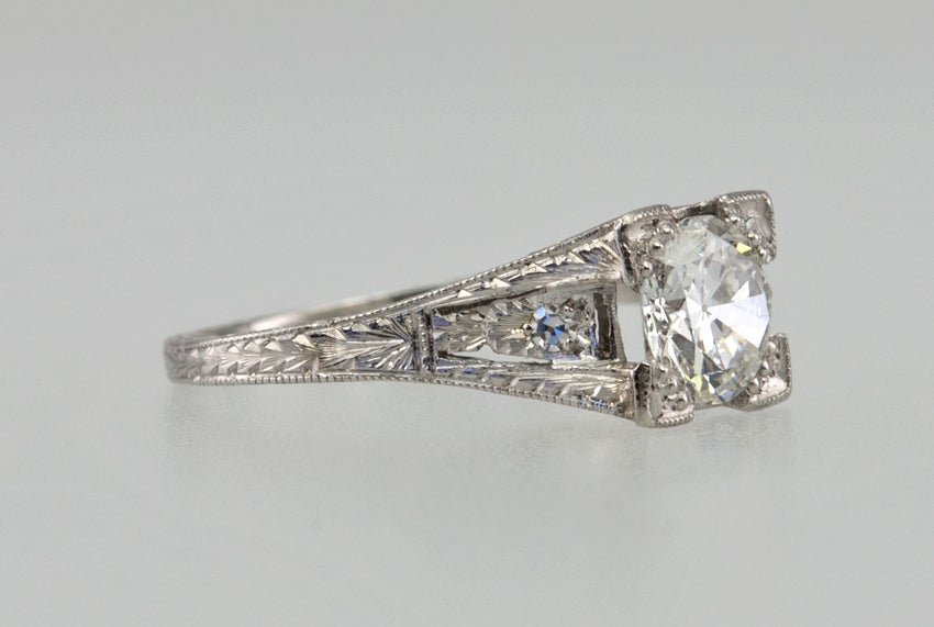 Old European Cut Diamond .94ct Engagement Ring For Sale