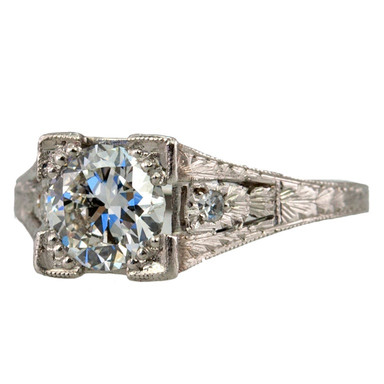 Diamond .94ct Engagement Ring For Sale