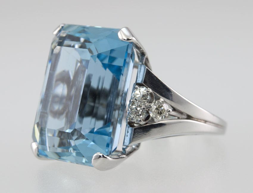 Women's Large Aquamarine Ring For Sale