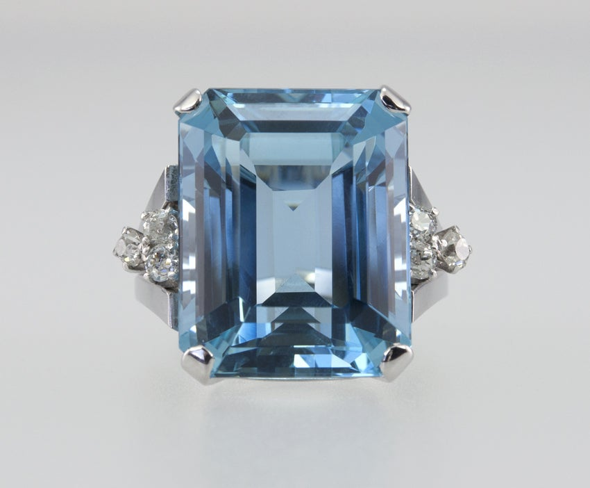 Large Aquamarine Ring For Sale 1
