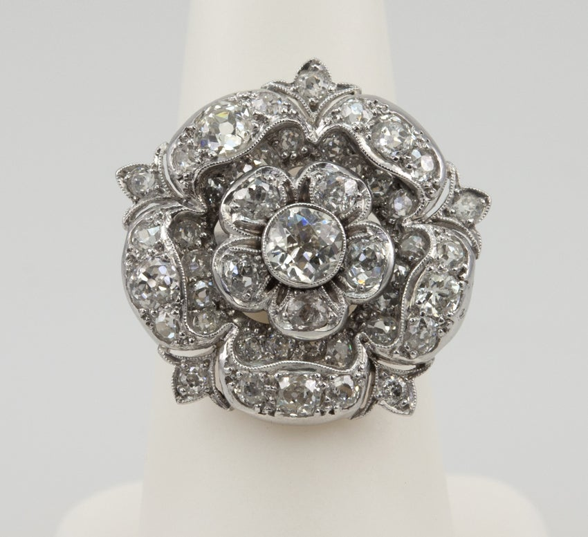 2 Carat Diamond Tudor Rose Ring At 1stdibs