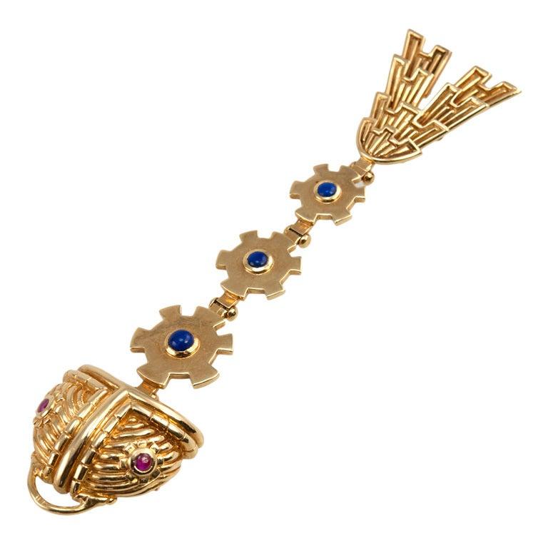 Fish skeleton brooch pendant at 1stdibs for Fish skeleton necklace