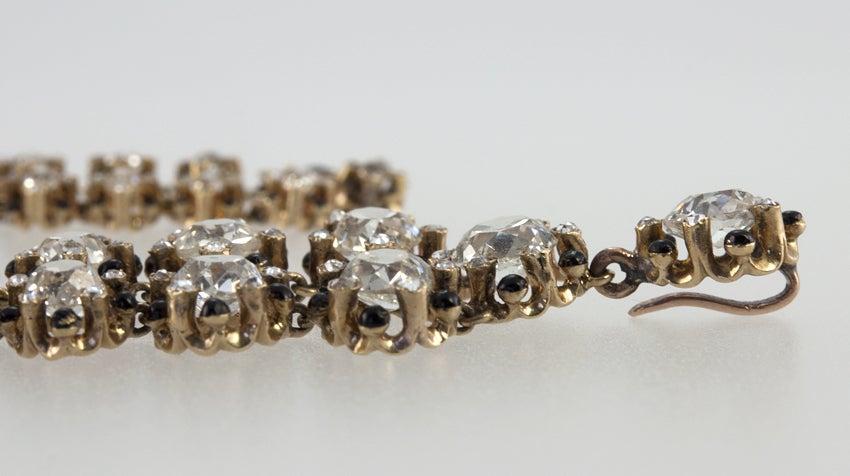 Victorian Old Mine Cut Diamond 18 Karat Gold Necklace 3