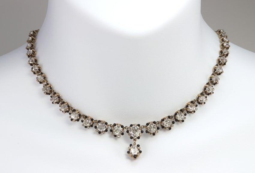 Victorian Old Mine Cut Diamond 18 Karat Gold Necklace 4