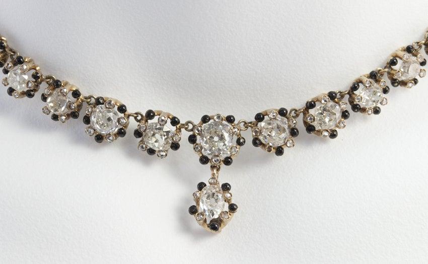 Victorian Old Mine Cut Diamond 18 Karat Gold Necklace 5