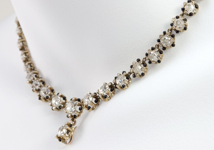 Victorian Old Mine Cut Diamond 18 Karat Gold Necklace 6