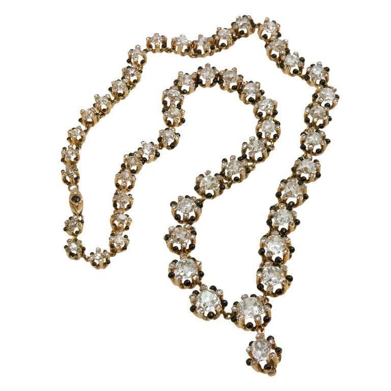 Victorian Old Mine Cut Diamond 18 Karat Gold Necklace 1