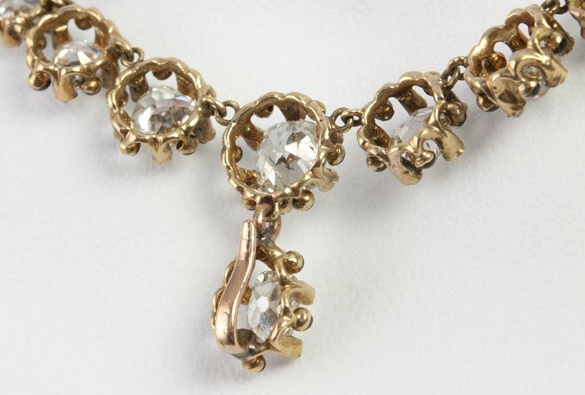 Victorian Old Mine Cut Diamond 18 Karat Gold Necklace 7