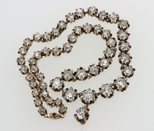 Victorian Old Mine Cut Diamond 18 Karat Gold Necklace 8