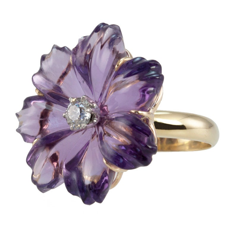 Amethyst Flower Ring At 1stdibs