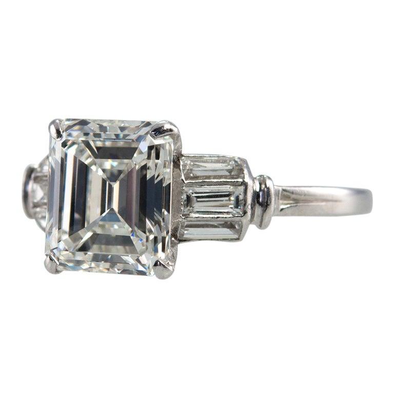 Beautiful 2.07 Carat Emerald Cut Diamond Ring