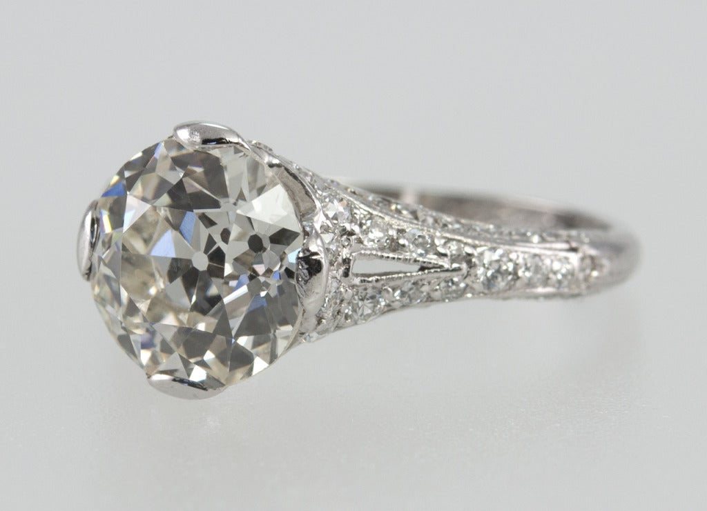 engagement ring with 245 carat old european cut diamond With european wedding rings