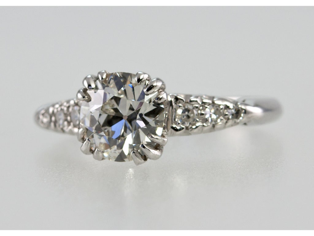 1.21 Carat Old European Cut Diamond and Platinum Ring 2