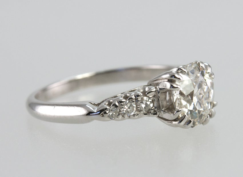 1.21 Carat Old European Cut Diamond and Platinum Ring 6