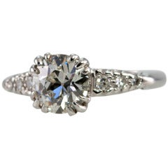 1.21 Carat Old European Cut Diamond and Platinum Ring