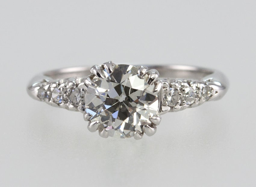 1.21 Carat Old European Cut Diamond and Platinum Ring 4