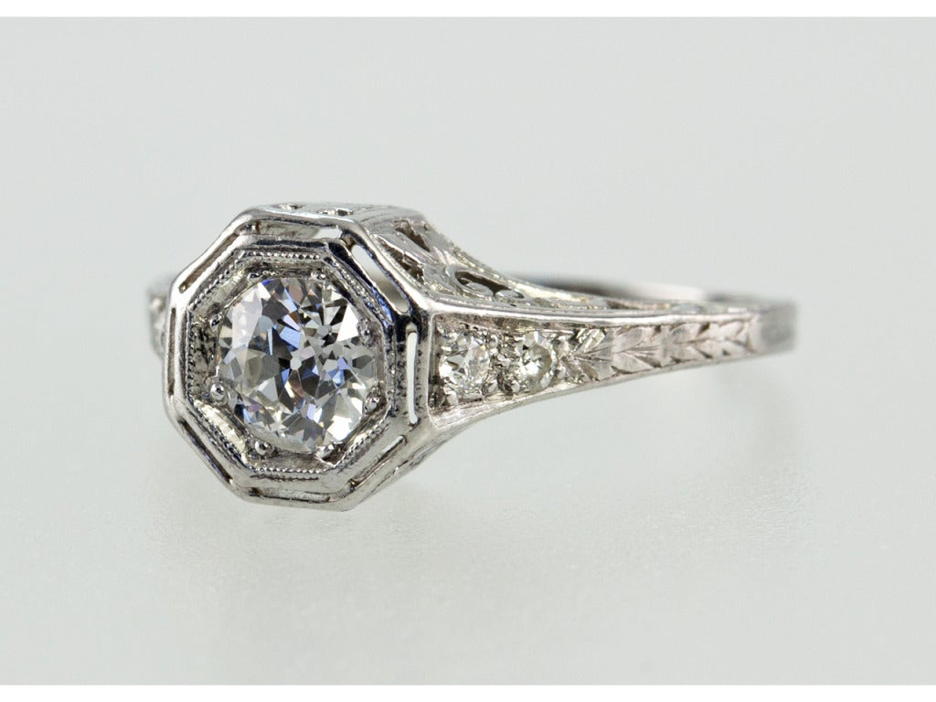 Bezel Set .75ct Old European Cut Diamond Ring In Excellent Condition For Sale In Los Angeles, CA