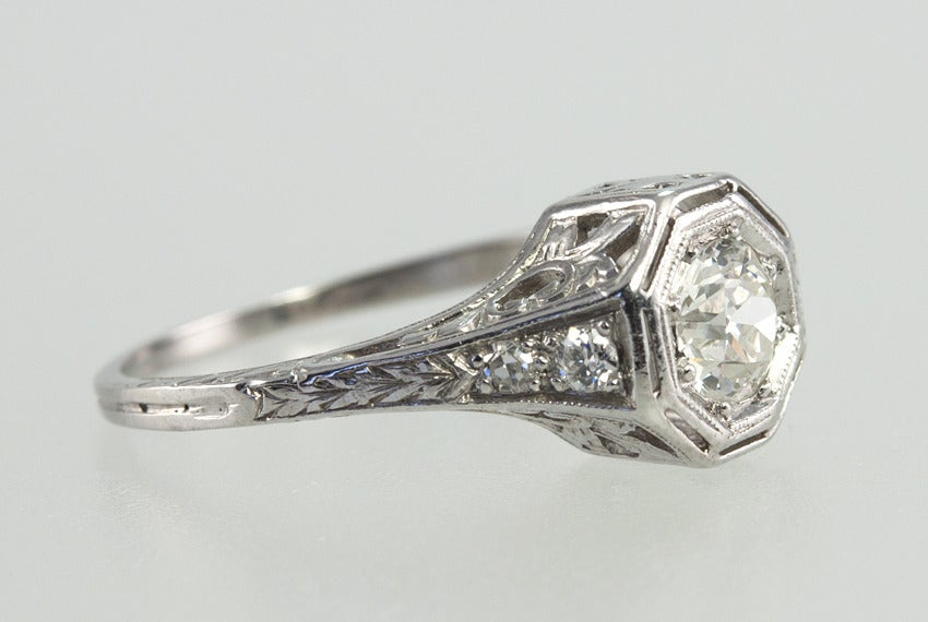 Women's Bezel Set .75ct Old European Cut Diamond Ring For Sale