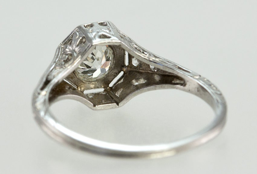 Bezel Set .75ct Old European Cut Diamond Ring For Sale 2