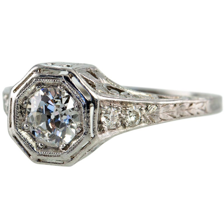 Bezel Set .75ct Old European Cut Diamond Ring For Sale