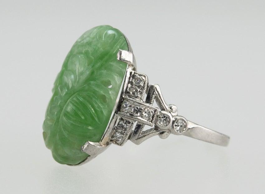 deco carved jade ring at 1stdibs