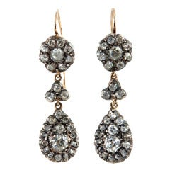Victorian Old Cut Diamond Dangle Earrings, circa 1880s