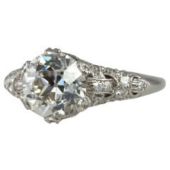 2.19 Carat Old European Cut Diamond and Platinum Engagement Ring