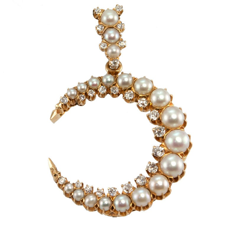 Victorian Pearl and Diamond 14 Karat Yellow Gold Crescent Brooch and Pendant For Sale