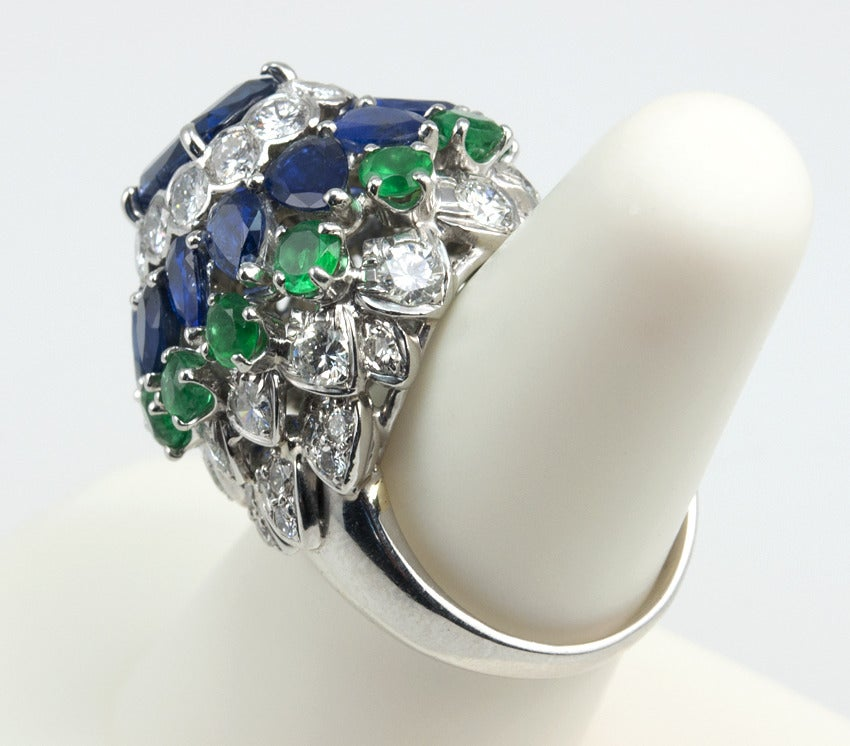 platinum sapphire emerald and dome ring at 1stdibs