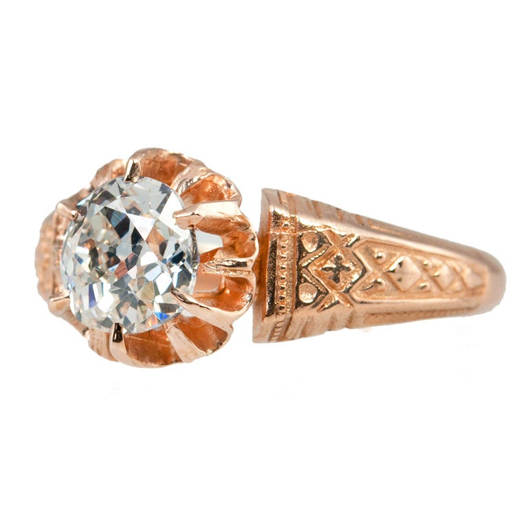 Victorian 0.96 Carat Old Mine Cut Diamond and 14 Karat Rose Gold Engagement Ring