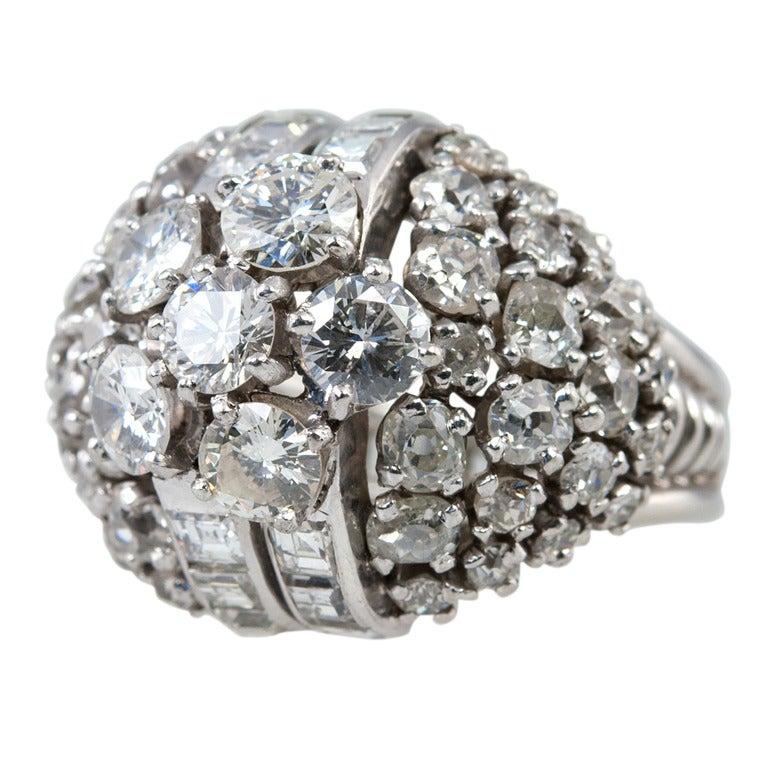 Diamond Platinum Dome Ring 1