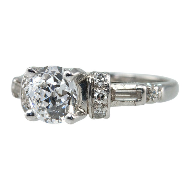 Art Deco Diamond Engagement Ring  For Sale
