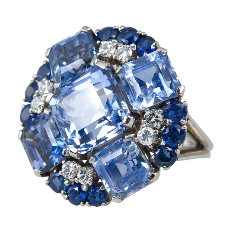 Oscar Heyman Natural Sapphire and Diamond Platinum Ring, circa 1950