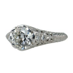 1.51 Carat Old European Diamond Engagement Ring