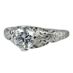 Diamond Platinum Filigree Ring
