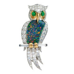 Opal and Diamond Owl Platinum Brooch, circa 1960s