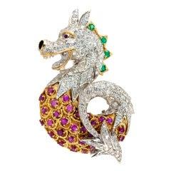 Dragon Brooch with Rubies and Diamonds
