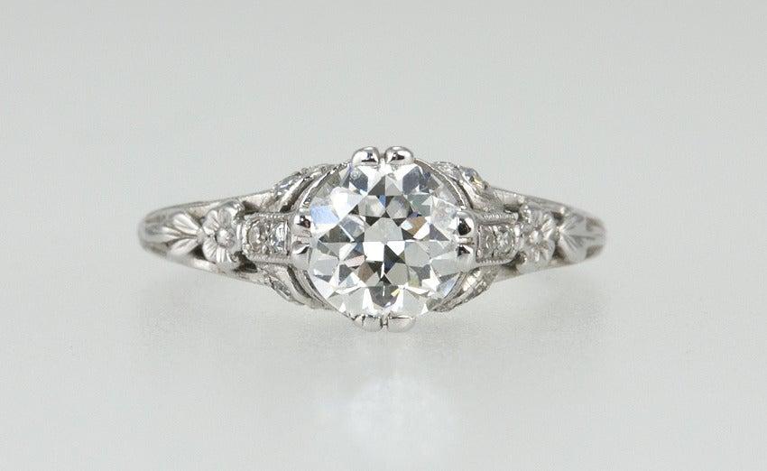 Edwardian 1.19 Carat Old European Cut Diamond Ring 4
