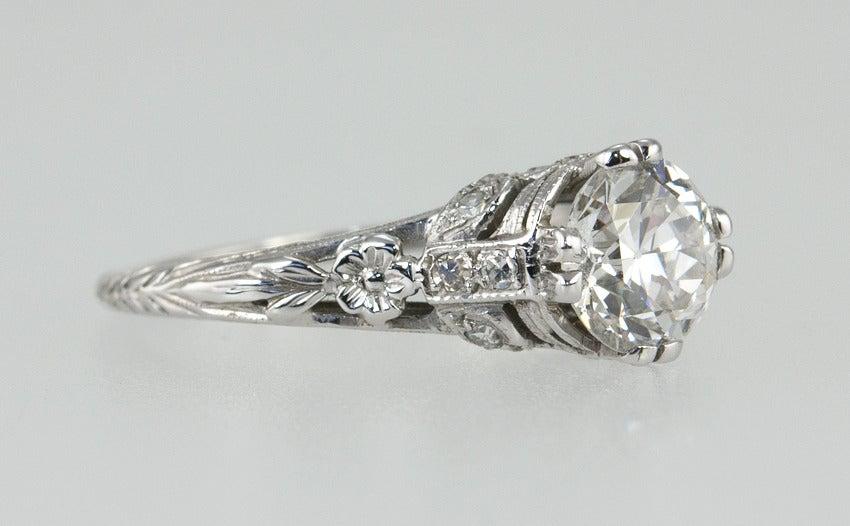 Edwardian 1.19 Carat Old European Cut Diamond Ring 5