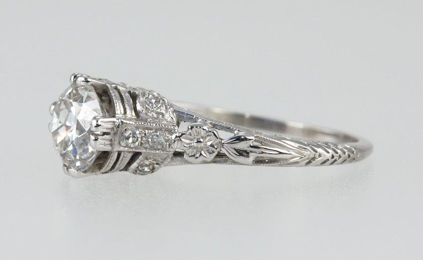 Edwardian 1.19 Carat Old European Cut Diamond Ring 6