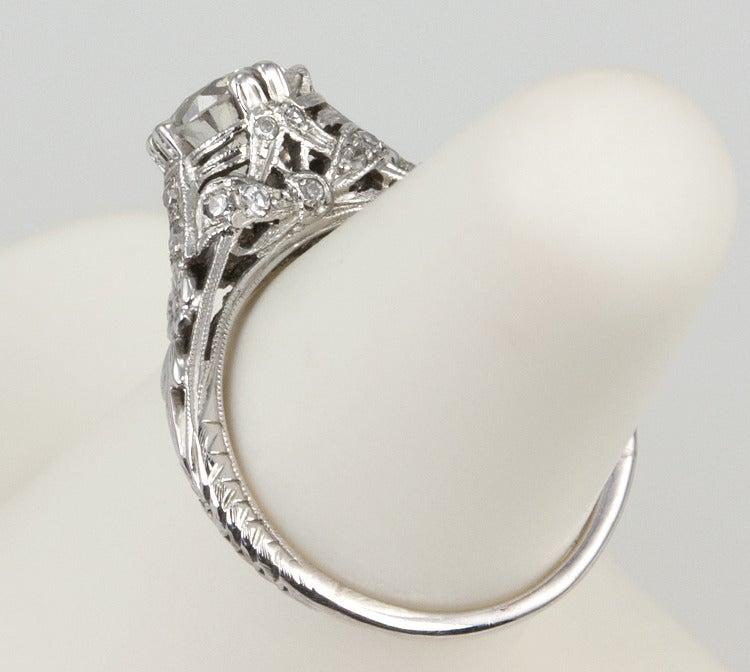 Edwardian 1.19 Carat Old European Cut Diamond Ring 8