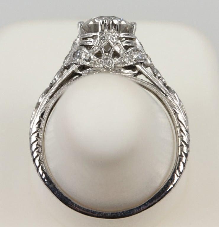 Edwardian 1.19 Carat Old European Cut Diamond Ring 9
