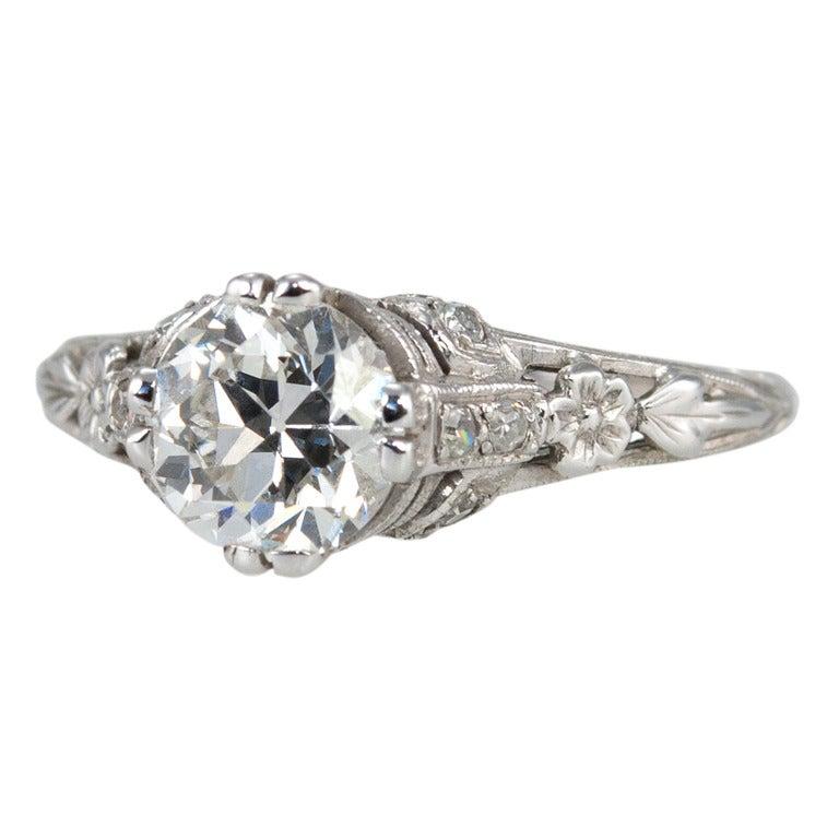 Edwardian 1.19 Carat Old European Cut Diamond Ring 1