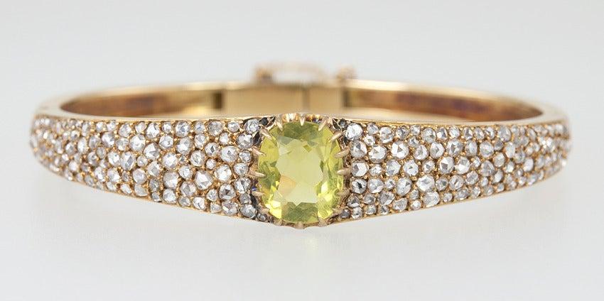 Victorian Citrine Diamond Bangle In Good Condition For Sale In Los Angeles, CA
