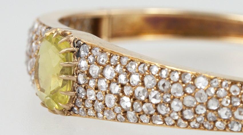 Women's Victorian Citrine Diamond Bangle For Sale